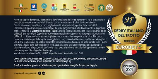 coupon ingresso 2x1 Derby 23 settembre 2018