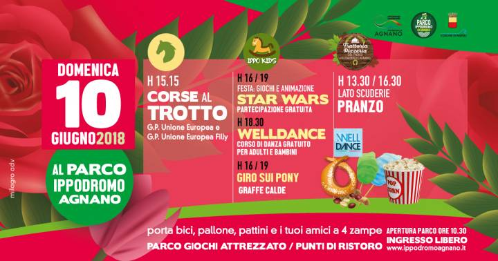 domenica 10 giugno ippodromo di agnano, star wars party e welldance, corse al trotto.
